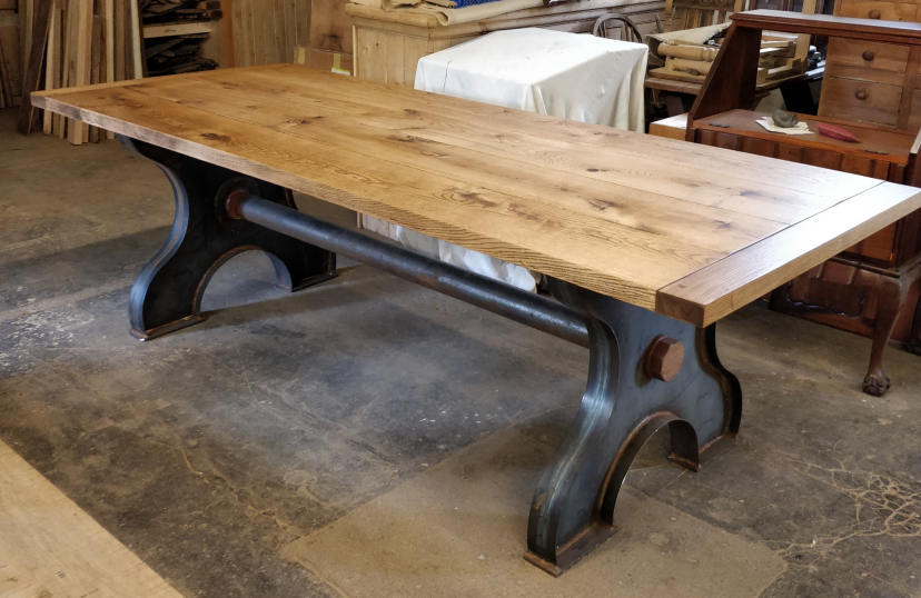 Oak & Cast Iron Table